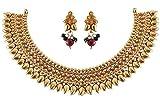 Rejewel 22K Gold Plated Antique Necklace set for Women.