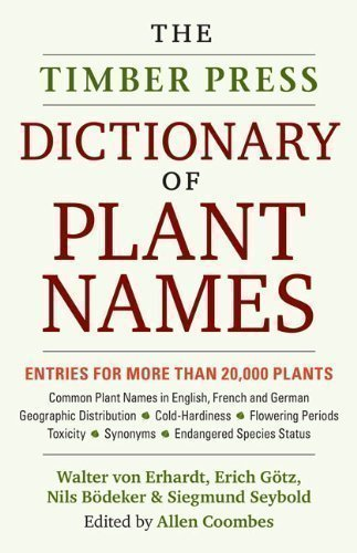 Dictionary Of Plant Names: The Pronunciation, Derivation And Meaning Of Botanical Names, And Their Common-Name Equilvalents front-539562