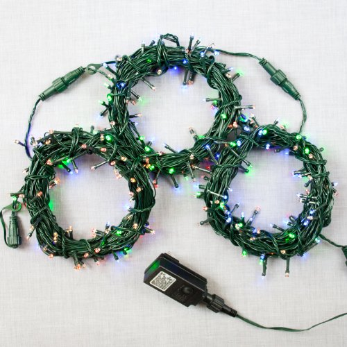 93 Foot - Indoor Outdoor Low Voltage Multi Color Plug-In String Lights - 300 Led - Expandable Up To 372 Feet