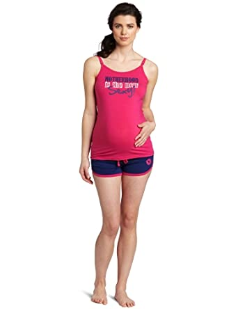 Lamaze Maternity Women's Motherhood Is The New Sexy Nursing Short Pajama Set, Fuschia, Small