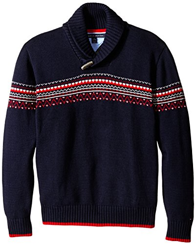 Tommy Hilfiger Big Boys' Long Sleeve Fairsle Sweater, Swim Navy, Large