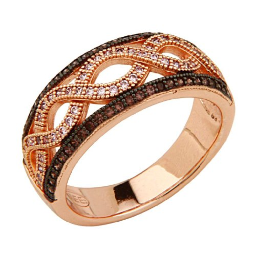 14K Rose Gold Plated Sterling Silver Micro Pave Wave Design Fashion Ring - Size 6