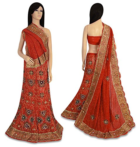 indian vintage style new bridal lehenga set hand beaded orange hochzeits kleid. Black Bedroom Furniture Sets. Home Design Ideas