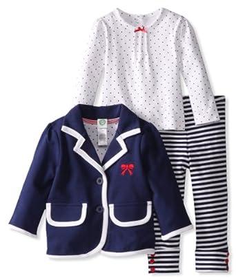 Little Me Baby-girls Infant Bow Blazer 3 Piece Jacket Set, Navy Stripe, 18 Months