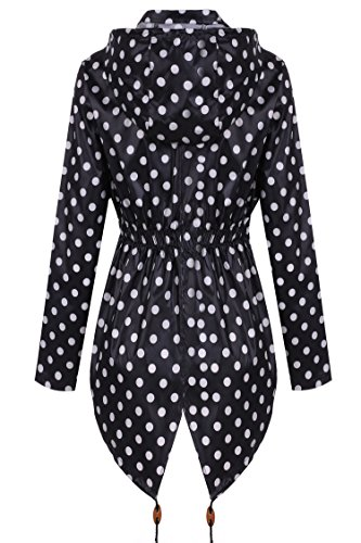 Meaneor Women's Waterproof Raincoat Outdoor Hooded Rain Jacket Black and White Polka Dot M