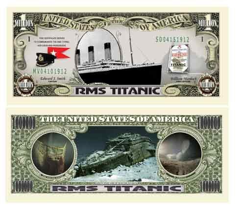 (5) Titanic Collectible Million Dollar Bills Plus (1) Bill Protector