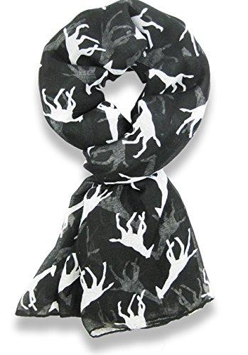 Hanson Giraffe Print Long & Soft Celebrity Style Scarf (Black)