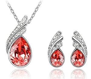 """Everbling Teardrop Red Swarovski Elements Crystal Pendant Necklace 18"""" and Earrings Jewelry Set"""
