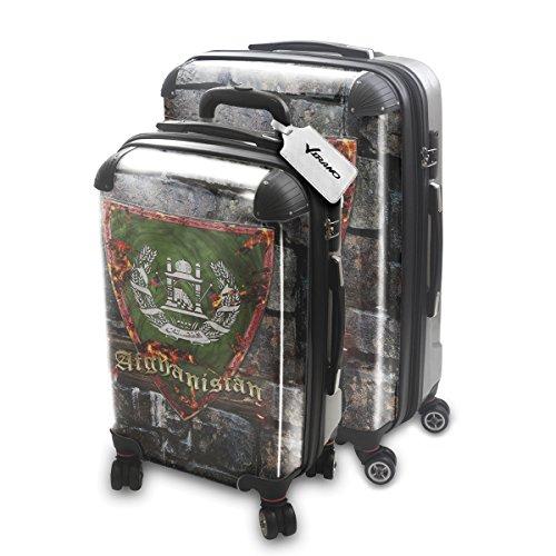 Blason Afganistan, 2 pièce Set Luggage Bagage Trolley de Voyage Rigide 360 degree 4 Roues Valise avec Echangeable Design Coloré. Grandeur: Adapté à la Cabine S, L