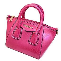 SHENGXILU Women\'s PU Leather Handbag Rose Red