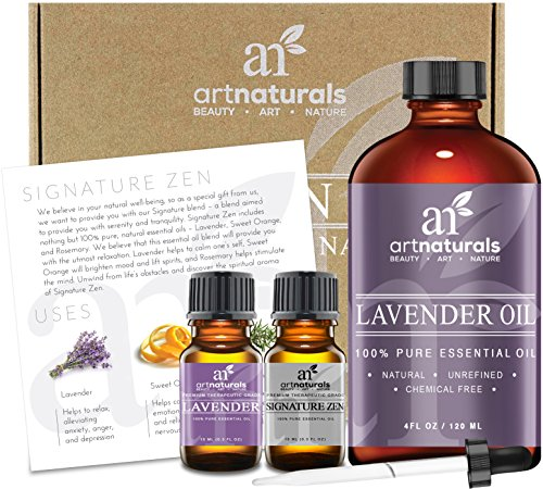 Art Naturals® Lavender Essential Oil 4 oz 3pc Set - Includes Our Aromatherapy Signature Zen Blend 10ml + Travel Size Lavender Oil 10ml - Therapeutic Grade 100% Pure & Natural From Bulgaria (4 oz) (Vaporizer For Oils Wax And Herbs compare prices)