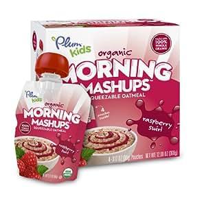 Plum Kids Organic Morning Mashups, Raspberry Swirl, 4-Count (Pack of 6)