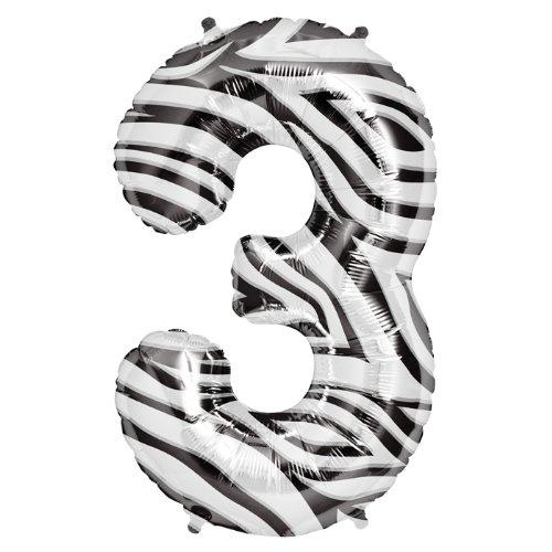 "Zebra Stripe Number Three ""3"" Mylar Balloon - 34"" Inch"