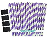 Outside the Box Papers Stripe Paper Straws 7.75 Inches Pack of 100 Lilac, White