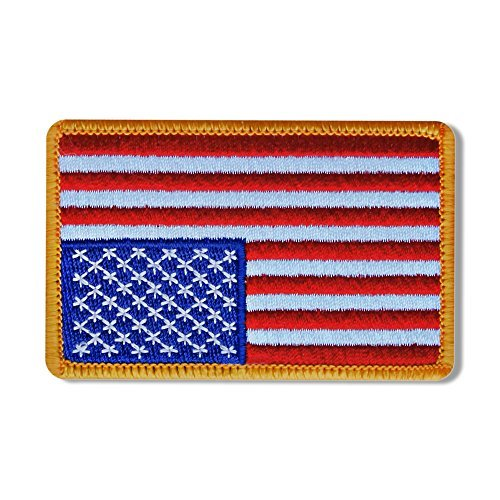 "Hot Leathers, RIGHT ARM FLAG YELLOW, Iron-On / Saw-On High Thread Rayon PATCH toppa - 3"" x 2"", Exceptional Quality"