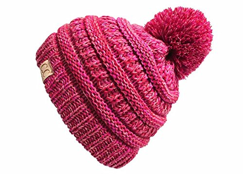 H-6847-816k.42 Childrens 4 Tone Pom Beanie - Red/Pink (#10)