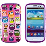DandyCase 2in1 Hybrid High Impact Hard Colorful Owl Pattern + Purple Silicone Case Cover For Samsung Galaxy S3 i9300 + DandyCase Screen Cleaner