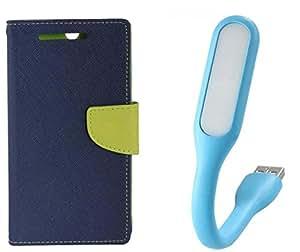 Novo Style Book Style Folio Wallet Case MicromaxCanvas Sliver 5Q450 Blue + Mini USB LED Light Adjust Angle / bendable Portable Flexible USB Light
