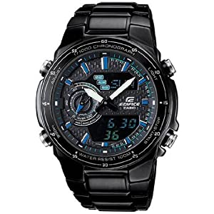 Casio Edifice Black Chrono Watch with Stainless Steel Band (EFA131BK-1AV)