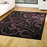 Flair Rugs Element Warwick Damask Rug, Black/Purple, 180 x 250 Cm
