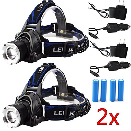 2Set XML XM-L 5 00Lm T6 LED 3-Modes Rechargeable 18650 Headlamp Headlight Torch (35 Watt 18650 compare prices)
