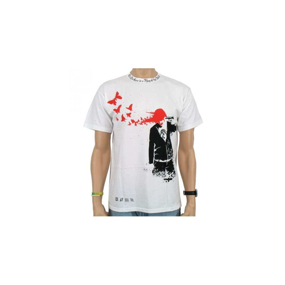 30 Seconds to Mars   Butterfly Band T Shirt, wei? Sport