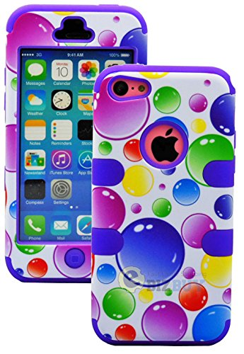 Mylife (Tm) Violet Purple + Colorful Bubbles 3 Layer (Hybrid Flex Gel) Grip Case For New Apple Iphone 5C Touch Phone (External 2 Piece Full Body Defender Armor Rubberized Shell + Internal Gel Fit Silicone Flex Protector + Lifetime Waranty + Sealed Inside