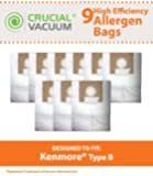 9 Kenmore Type B 85003 Allergen Bags; Fits 24196, 20-24196 and 115.2496210 Straight Extra-suction canister models & Oreck Quest MC1000 Canister Vacuums; Compare to Part # 24196, 20-24196, 634875, 115.2496210, 0-24196, 24196, 02053278000 and 634875; Designed & Engineered by Crucial Vacuum