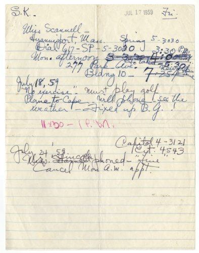 Janet Travell - Jfk'S Doctor - Authentic Hand Written Notes front-1014095