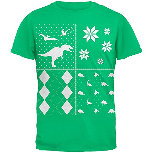 Dinosaurs Festive Blocks Ugly Christmas Sweater Green Adult T-Shirt - 2X-Large