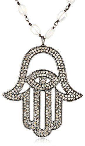 Azaara-Hamsa-Pave-Champagne-Diamond-and-Moonstone-Chain-Pendant-Necklace-353cttw-I2-I3-Clarity
