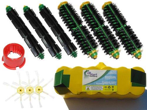 Irobot Roomba 530 Battery, Bristle Brush And Flexible Beater Brush, 6-Arm Side Brush, Brush Cleaning Tool - Kit Includes 1 Battery, 3 Bristle Brush And 3 Flexible Beater Brush, 3 6-Arm Side Brush, 1 Brush Cleaning Tool front-227788