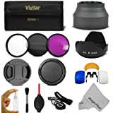 52MM Professional Accessory Kit for NIKON DSLR (D5200 D5100 D5000 D3200 D3100 D3000 D40 D60 D80 D90) - Includes: Vivitar Filter Kit (UV, CPL, FLD) + Carry Case + Lens Hood (Tulip and Collapsible) + Flash Diffuser Set + Lens Cap (Center Pinch and Snap On) + Cap Keeper Leash + Deluxe Cleaning Kit + MagicFiber Microfiber Lens Cleaning Cloth