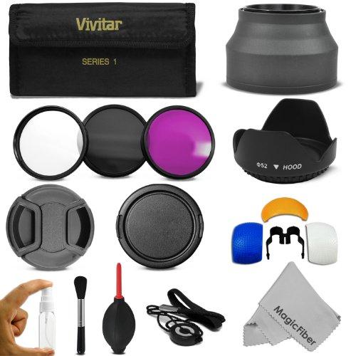 52Mm Professional Accessory Kit For Nikon D3300 D3200 D3100 D3000 D5300 D5200 D5100 D5000 Dslr Camera - Includes: Vivitar Filter Kit (Uv, Cpl, Fld) + Carry Pouch + Lens Hoods (Tulip And Collapsible) + Flash Diffuser Set + Lens Caps (Center Pinch And Snap