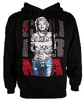 California Tattooed Marilyn Monroe Mens Black Hoodie Hooded Sweatshirt (M)