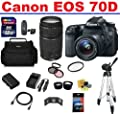 Canon EOS 70D DSLR Camera with 2 Canon Lenses Pro Pack: Includes - Canon EF-S 18-55mm STM IS Lens - Canon Zoom Telephoto EF 75-300mm III - Telephoto & Wide Angle Lenses, Also Includes Deleuxe Camera Bag, Spare Battery & Travel Charger, 32GB SDHC Card & Ca
