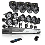 Zmodo 16 Channel 960H DVR Security Camera System w/ 8 Outdoor Bullet + 8 Indoor Dome 600TVL Hi-Resolution Video Surveillance Cameras 1TB HDD