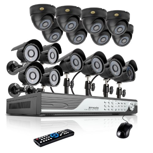 Best Price Zmodo 16 Channel 960H DVR Security Camera System w/ 8 Outdoor Bullet + 8 Indoor Dome 600T...