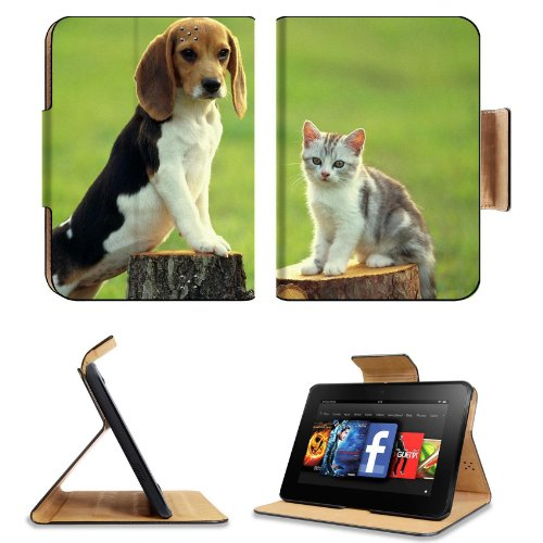 Beagle Kitty Outdoor Friends Baby Animal Amazon Kindle Fire Hd 7 [Previous Generation 2012] Flip Case Stand Magnetic Cover Open Ports Customized Made To Order Support Ready Premium Deluxe Pu Leather 7 11/16 Inch (195Mm) X 5 11/16 Inch (145Mm) X 11/16 Inch