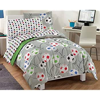 Soccer Twin Mini Bed in a Bag - Multi (NEW in Original Packaging)Kick it and make that goal with this Soccer complete bedroom ensemble! The ultra soft comforter and sham feature an allover design of colorful soccer balls in shades of white, green, bl...