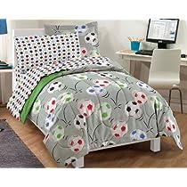 Soccer Ultra Soft Microfiber Comforter Bedding Set Gray Multi