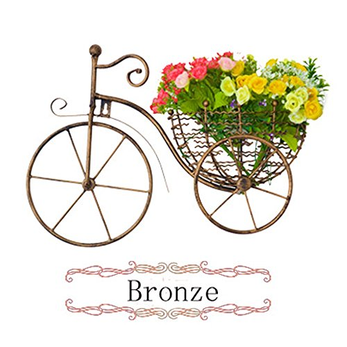 Wall Decor, Handcraft metal wall hanging Decor Art Bicycle Sculpture with 2 Flowers by Rou Lee (Bronze)