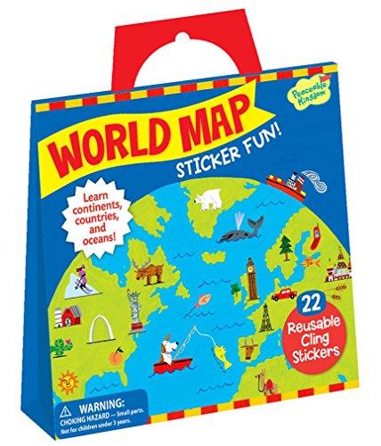 Peaceable Kingdom Sticker Fun! World Map Reusable Sticker Tote