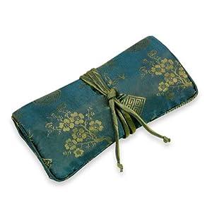 Jewelry Roll (Large) - Silk Jacquard (Moroccan Blue)
