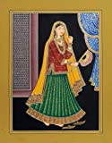 Exotic India Lady With Fan - Water Color Painting On Paper Artist: Kailash Raj