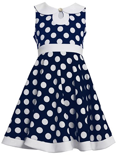 Navy-Blue White Key Hole Peter Pan Collar Dot Print Knit Dress Nv4Ba, Navy, Bonnie Jean Tween Girls 7-16 Special Occasion, Flower Girl Social Party Dress