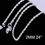 Goldenchen Fashion 925 Jewelry Classic 2mm Distort Rope Beautiful Sterling Silver Plated Necklace Chain For Women Men (24 Inch) (Color: Silver, Tamaño: 24 Inch)