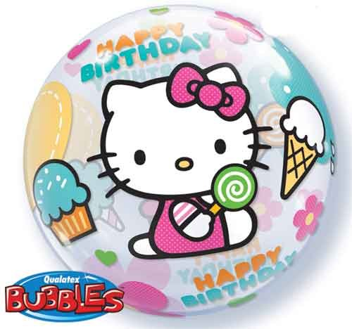 "22"" Hello Kitty Birthday Bubble Balloons - 1"