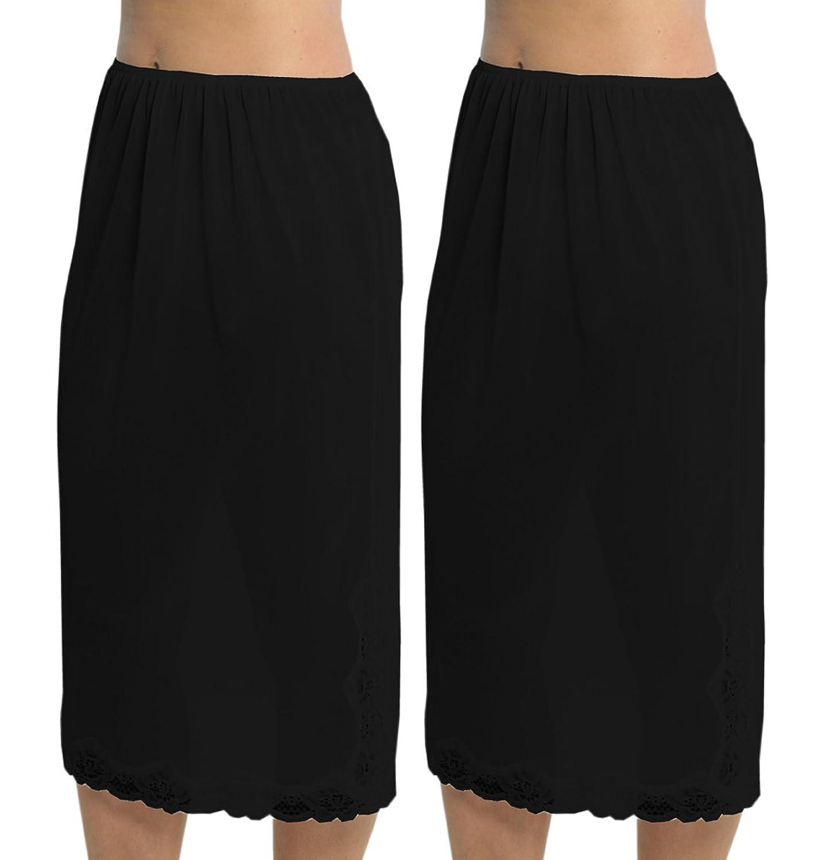 2 Pack Womens Damen Unterrock Slip mit Lace Trim 100 % Polyester resistentes Cling, 29 Zoll Länge (73cms), verschiedene Farben & Größen günstig online kaufen