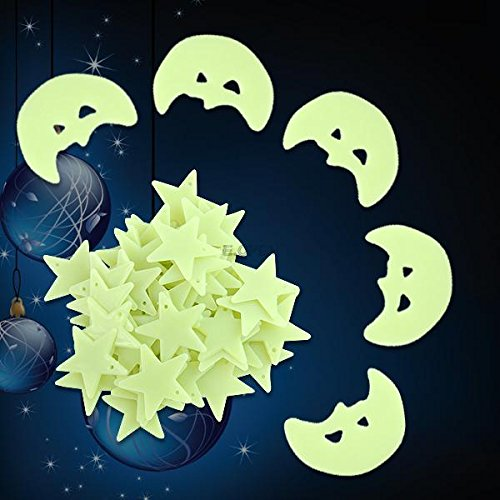 Moons Stars Wall Bed Stickers Decals Baby Kid Home Room Nursery Glow in the Dark